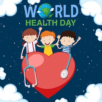Poster design for world health day with happy kids in background