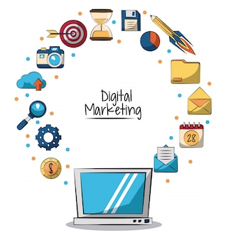 Poster of digital marketing with laptop computer in closeup and marketing icons around on him vector illustration