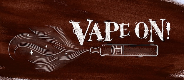 Poster electronic cigarette, vaporizer with smoke cloud in vintage style lettering vape on