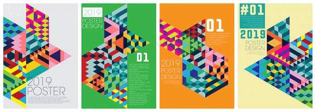 Poster event template with colorfull diagonal