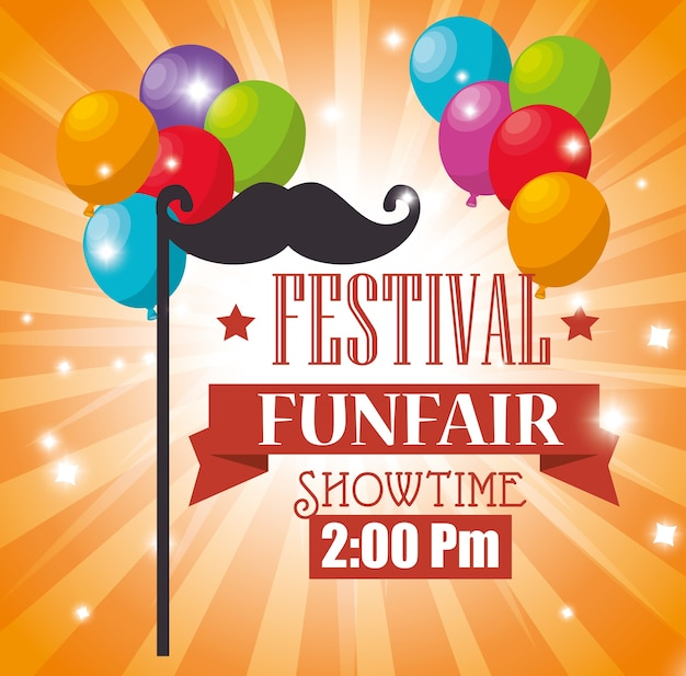 Poster festival funfair balloons flying mustache
