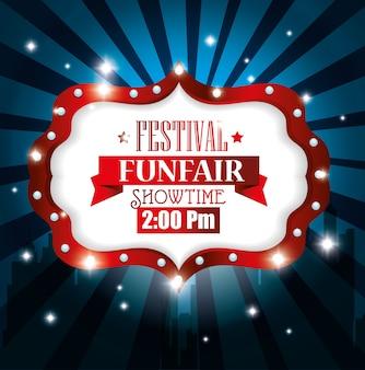 Poster festival funfair light background