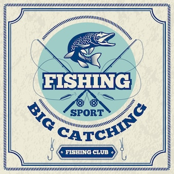 Poster for fishing club. monochrome illustration of pike. fishing poster club, catch fish banner