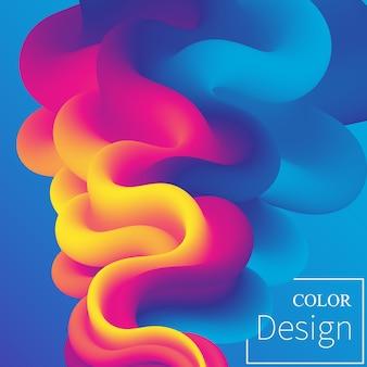 ポスター。流体の色。液体の形。インクしぶき。カラフルな雲。フローウェーブ。現代のポスター。背景色。 。
