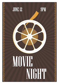 Poster, flyer or invitation template for movie night, motion picture premiere or cinema festival with retro film reel on brown