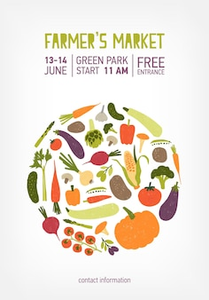 Poster, flyer or invitation templates for farmer s market, vegan food festival or fair decorated by circle made of fresh ripe vegetables or crops. colorful vector illustration for event announcement.
