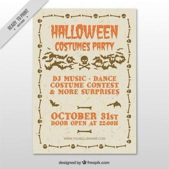 Плакат для хеллоуин костюм партии в стиле винтаж