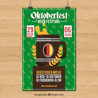 Poster for oktoberfest party with barrel