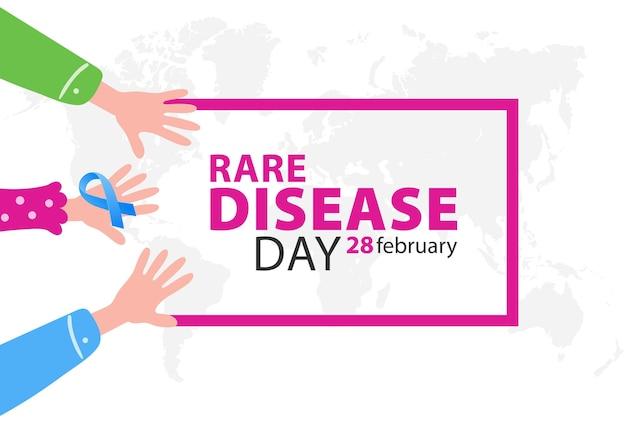 Плакат ко дню осведомленности о редких болезнях с руками и символом ленты