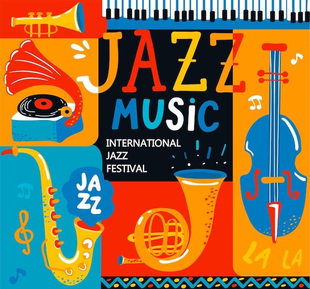 チェロ、コルネット、チューバ、クラリネット、サックス、グラモフォンなどのクラシック楽器を使ったジャズ音楽祭のポスター。手描きのレタリング。音楽イベント、ジャズコンサートのベクトルイラスト。