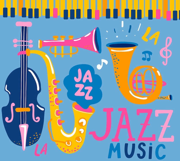 チェロ、コルネット、チューバ、クラリネット、サックスなどのクラシック楽器を使ったジャズ音楽祭のポスター。手描きのレタリング。音楽イベント、ジャズコンサートのベクトルイラスト。