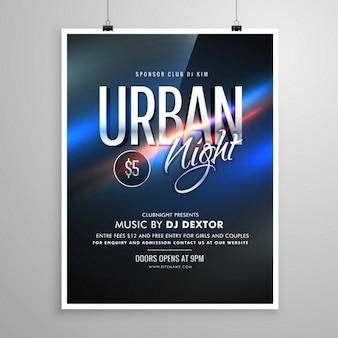 都会の夜のチラシ音楽テンプレートポスター