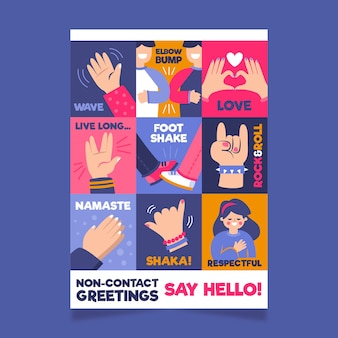 Poster format with non-contact greetings