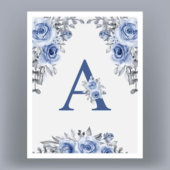 Poster frame with letter a and flowers
