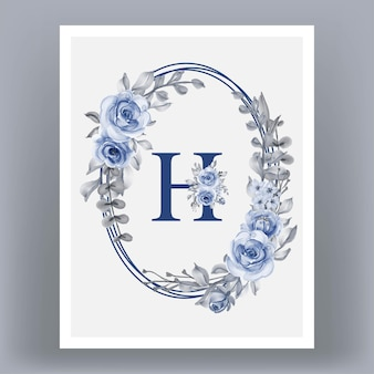Poster frame with letter h and flowers