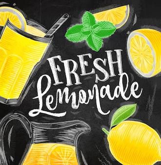 Poster fresh lemonade drawing chalk