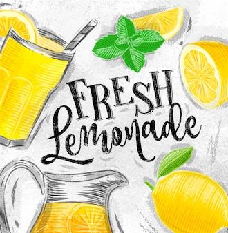Poster fresh lemonade drawing