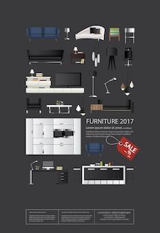 Poster furniture set vector illustration