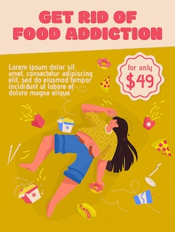 Poster of get rid of food addiction concept. overweight woman lies among fast food. sad plump young girl need help with nutritional problems.