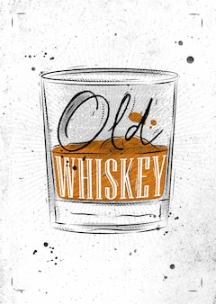Poster glass of whiskey lettering