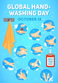 Poster for global handwashing day.  infographic. hands washing medical instructions. soap bottle and towel. flat vector icons.