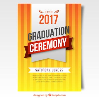 Poster of graduation ceremony in orange tones