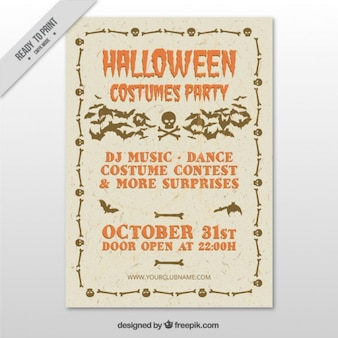Poster for halloween costume party in vintage style