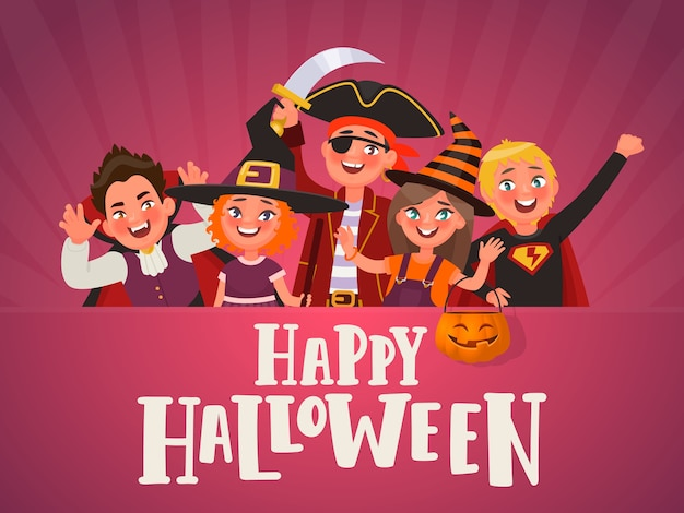Poster for halloween kids party. children dressed in halloween costumes.