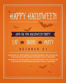 Poster halloween on orange background
