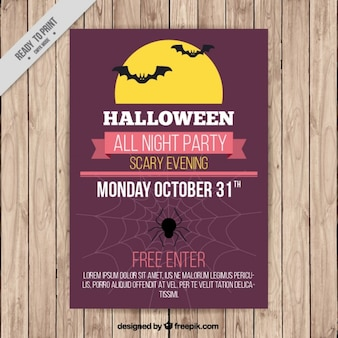 Poster for halloween with bats and a full moon