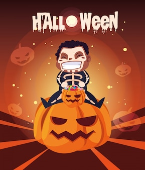 Poster of halloween with boy disguised of skeleton