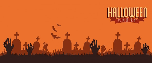 Poster halloween with hands zombie in cemetery