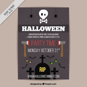 Poster for halloween with two axes