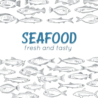 포스터 손으로 그려진 물고기