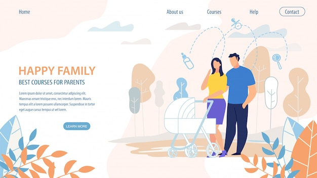 Poster happy family best courses for parents.