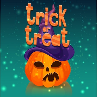 Poster for a happy halloween with a pumpkin head in a witch hat.