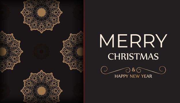 Poster happy new year and merry christmas in black color with winter ornament.