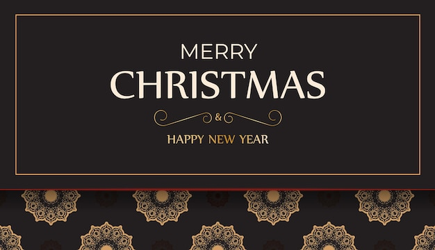 Poster happy new year and merry christmas in black color with winter pattern.