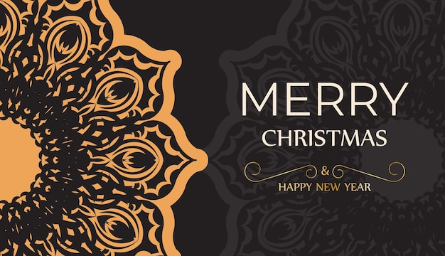 Poster happy new year and merry christmas in black with winter pattern.