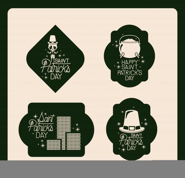 エンブレム・セットの幸せな聖者のパトリックス・デーのポスター