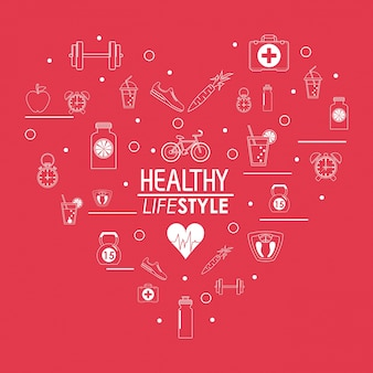 Poster healthy lifestyle design in heart shape