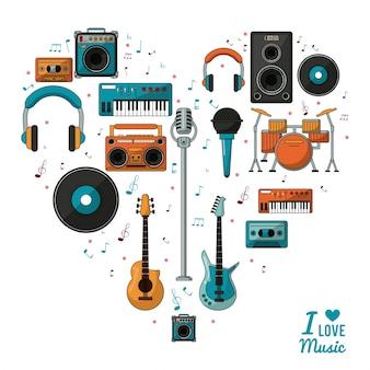 Плакат я люблю музыку с музыкальными инструментами и воспроизводящими устройствами