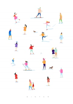 Poster illustrated people on a winter walk