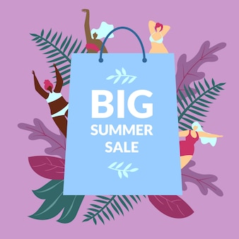 Poster illustration inscription big summer sale.