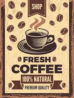 Плакат в стиле ретро для кофейни. винтаж баннер кофе, карточный магазин с чашкой напитка. иллюстрация