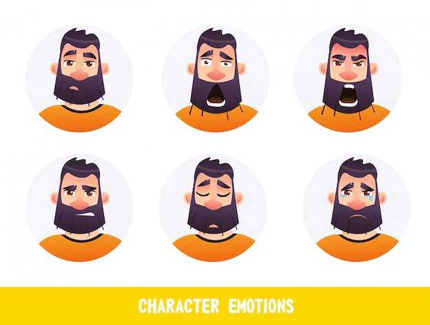 Poster inscription character emotions cartoon flat