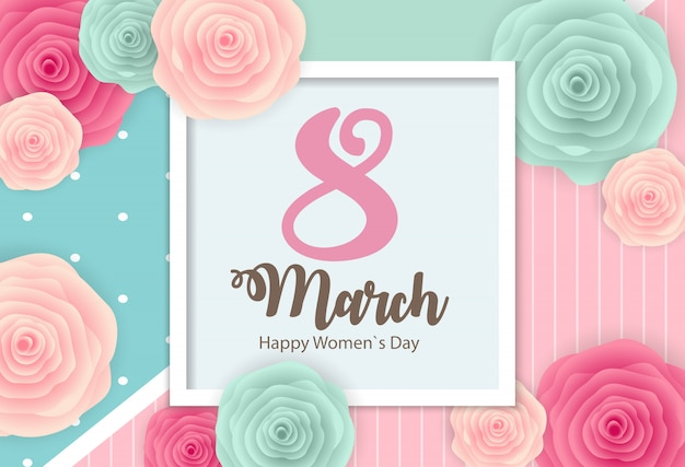 Poster international happy women s day 8 march floral greeting greeting card