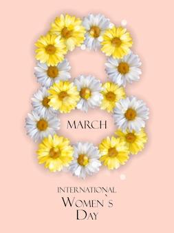 Афиша международного счастливого женского дня 8 марта поздравительная открытка
