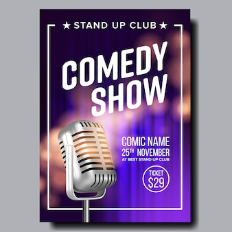 Poster invitation to comedy show in club