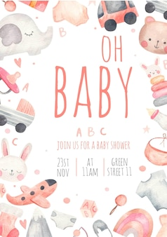 어린이 파티 베이비 샤워 포스터 초대장, 흰색 배경에 수채화 그림